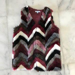 SHE + SKY Multi Color Faux Fur Vest